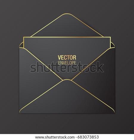 Black vector envelope template. Black opened envelope with golden elements, lying on a black background. Realistic mockup.