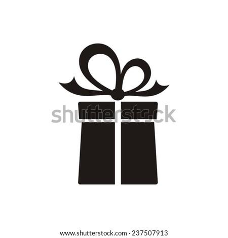 Black vector gift box icon on white background