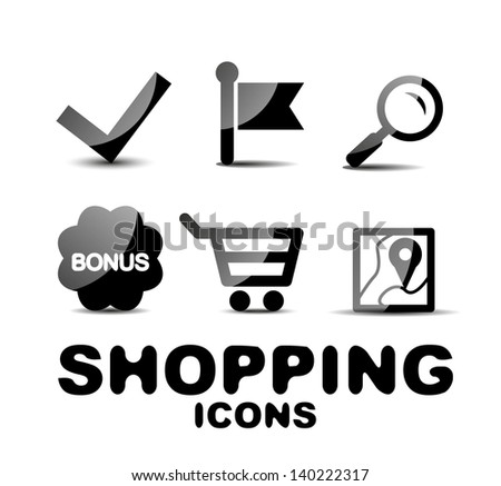 Black vector glossy shopping icon set