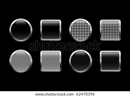 Black vector glossy web buttons.EPS 10