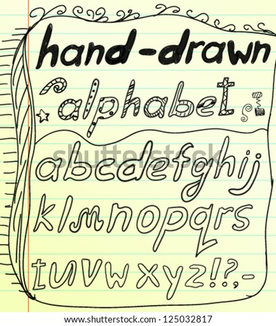 Black vector hand drawn alphabet doodles - stock vector