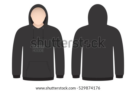 Blank White Outline Hooded Sweatshirt Template - Download Free