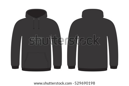 Black vector hoodie. Unisex hoodie template, isolated on background.