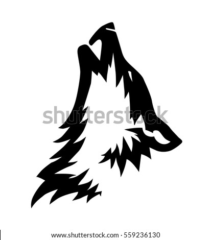 black vector howling wolf head