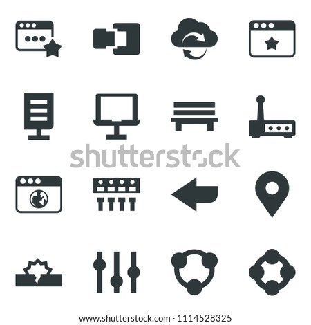 Black vector icon set notebook network vector, cloud exchange, browser, equalizer, hub, router, favorites, bench, arrow, connection, document, pin, disconnection, social media