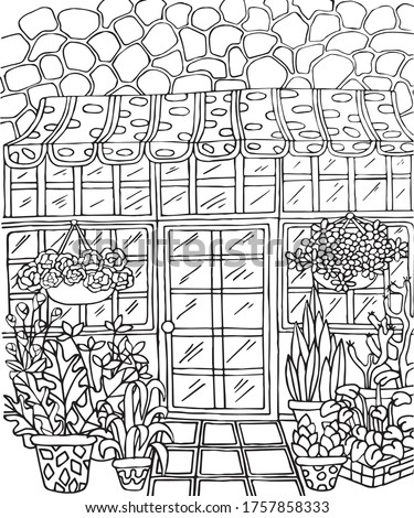 Black vector illustration on a white background for coloring with shop, flowers, door, lamp, windows, brickwork. Vector illustration for coloring, for greeting cards, posters, stickers, design. Сток-фото ©