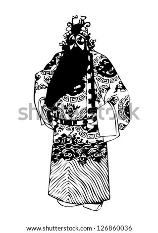 Black vector image of the goddess of fertility of Chinese warriors Kwnao in the history of China.eps10