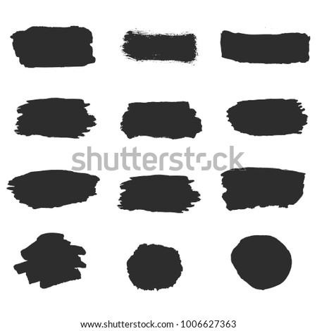 Black vector ink brush strokes of paint on white background. Set collection line or texture. Paintbrush set. Grunge design elements. Dirty texture banners.