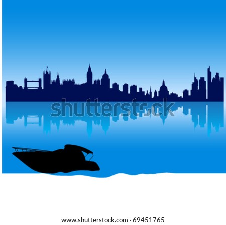 Black vector London silhouette skyline with reflections and a small yacht