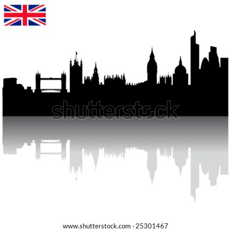 Black vector London silhouette skyline with union flag - stock vector