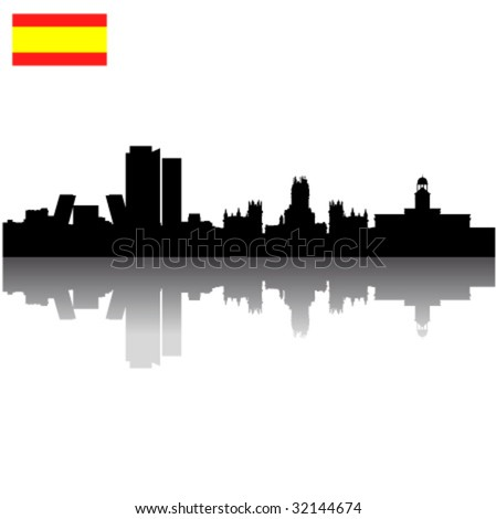 stock vector : Black vector Madrid silhouette skyline with Spain flag