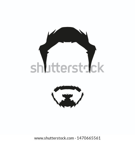 black vector man face with