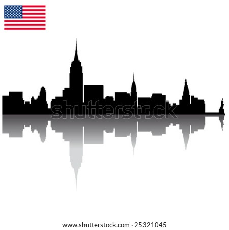 Black vector New York silhouette skyline with USA flag