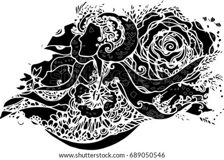 hand draw of line art design for tattoo art ez canvas