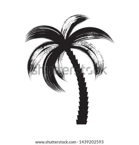 Black vector palm tree icon brush stroke design