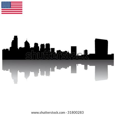 Black vector Philadelphia silhouette skyline with USA flag