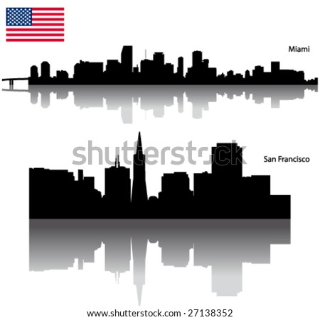 Black vector San Francisco & Miami silhouette skyline with USA flag