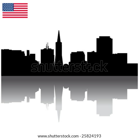 Black vector  San Francisco silhouette skyline with USA flag
