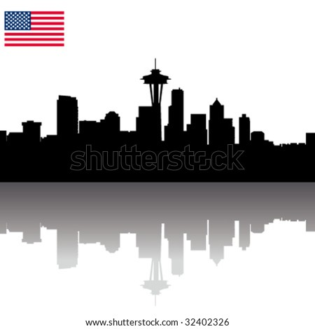 Black vector Seattle silhouette skyline with USA flag