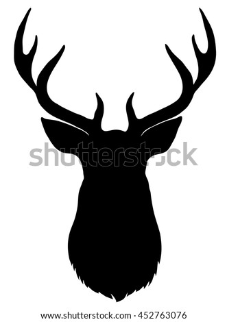 black vector silhouette of deer'...