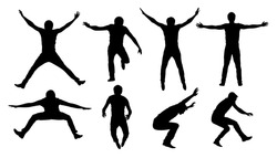 Black vector silhouettes of jumping or falling man isolated on white background