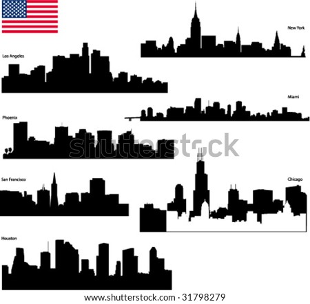 Black vector silhouettes skyline of  USA biggest cities with  flag