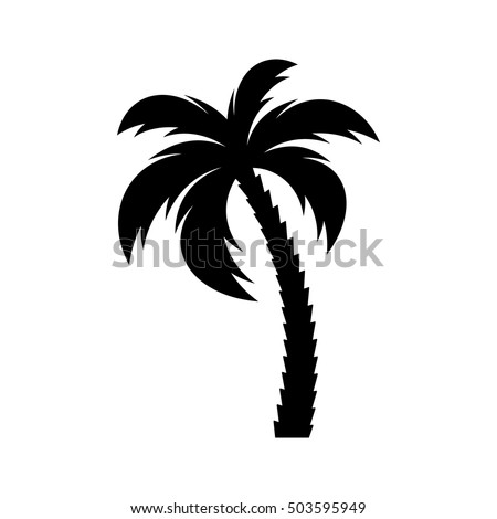 black vector single palm tree