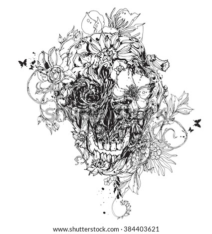 Black vector skull with flowers