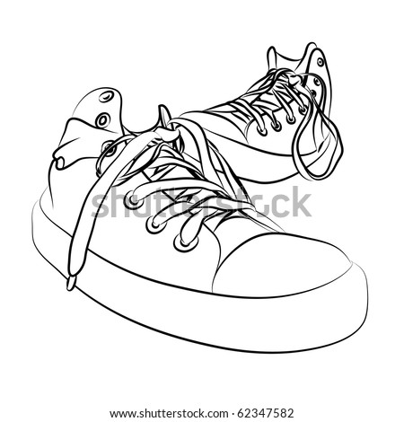 black vector sneakers on white background (illustration)