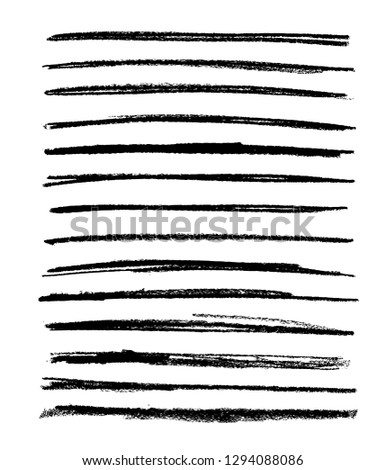 Black vector strokes of pastel pencil on white background