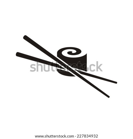 Black vector sushi with chop sticks icon isolated