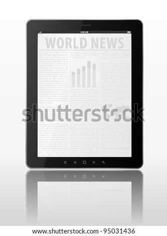 Black vector tablet pc. Object isolated of background. EPS10 illustration