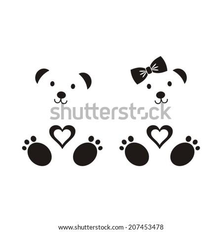 black vector teddy bear icons