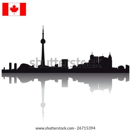 Black vector Toronto silhouette skyline with Canadian flag