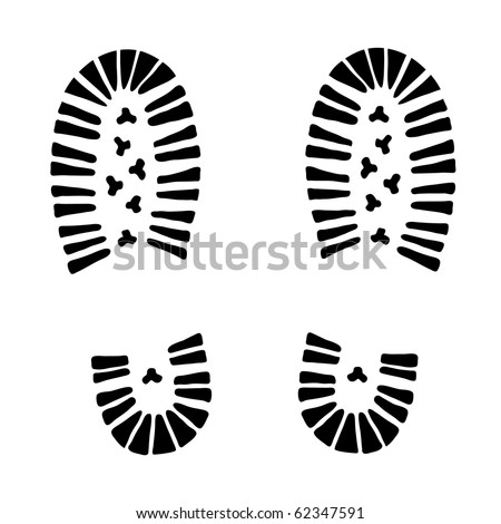black vector trail foot on white background (illustration)