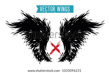 Stock Photo Black vector wings. Element of design for rap album, poster, banner, game character. Vintage, shabby, tattered wings. Isolated vector illustration on white background
