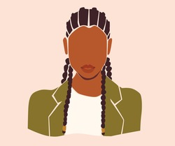 Black vector woman portrait on the pink isolated background. Black girl with dreadlocks in green blazer.