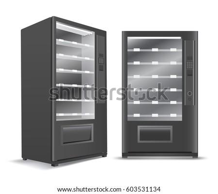 Black Vending Machine on White Background : Vector Illustration