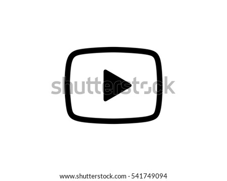 Black video play button icon vector illustration on white background