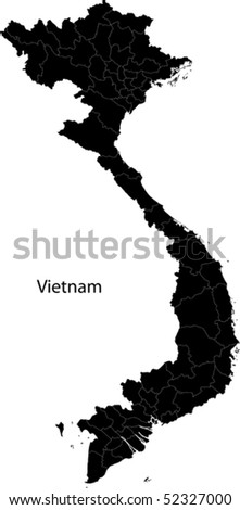 Black Vietnam map separated on the provinces