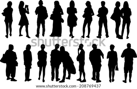 black view silhouettes peoples