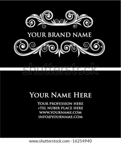 Black vintage business card