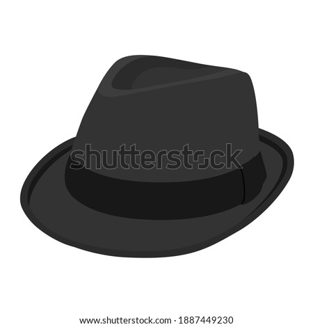 Black vintage fedora noir hat isolated on white background. Isometric view. Vector Stock photo ©