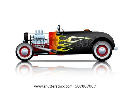 black vintage hot rod with