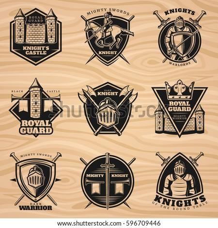 black vintage knights emblems...