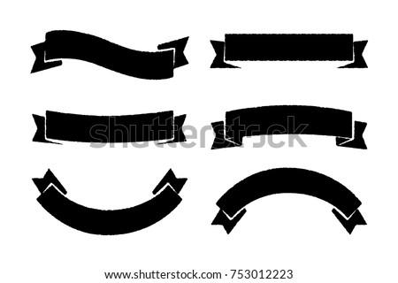 black vintage ribbon banner sets