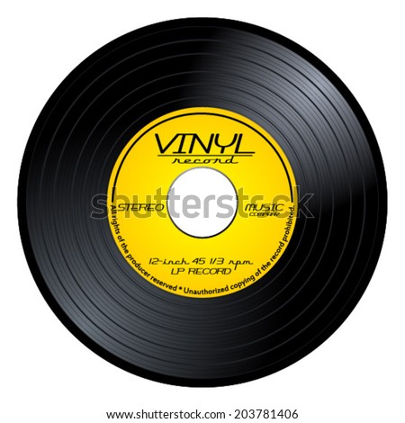 black vintage 45 rpm vinyl record with old yellow label lp isolated on white background retro. Black Bedroom Furniture Sets. Home Design Ideas