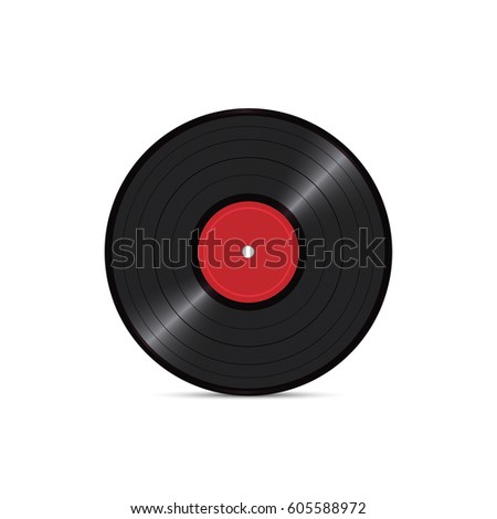Black vinyl disk record isolated on white background. Retro sound carrier. Realistic vector illustration