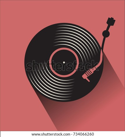Black vinyl record disc flat concept vector illustration