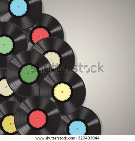 Black vinyl records isolated on background. Vector illustration